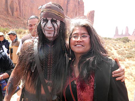 Johnny Depp meeting Dr Gayle Dine' Chacon from the Navajo nation while filming The Lone Ranger
