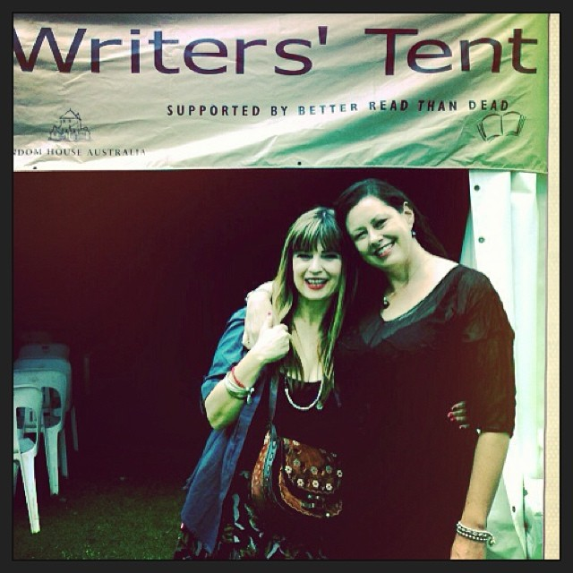 Josephine Pennicott and Kate Forsyth at the Writers Tent at Newtown 2013