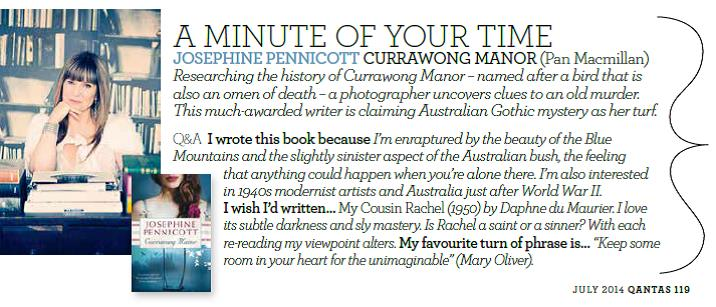 Josephine Pennicott in June 2014 award winning Qantas magazine feature.