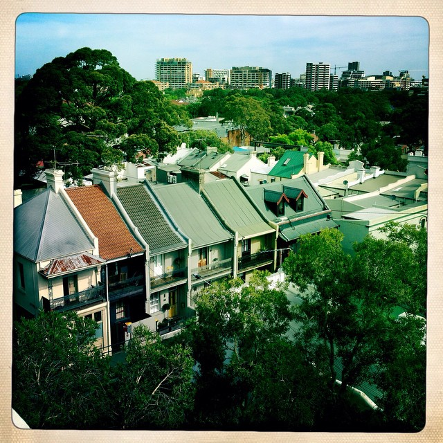 Surry Hills rooftops. At a casting for a commercial with Daisy. Once  home to the Surry Hills rats now a suburb filled with hipsters and what seems to be every 9 year old girl in Sydney emoting their line. The Southerly will bring relief to the baking inner-city. Outside the window I can feel the sea. #surryhills #dramaqueens #innerwest #daisy #sydney