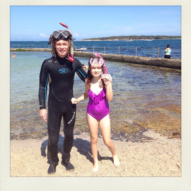 My two Pisces in their happy place @daisystar1  and David. #cronulla #family #summer #diving #snorkel #sydney
