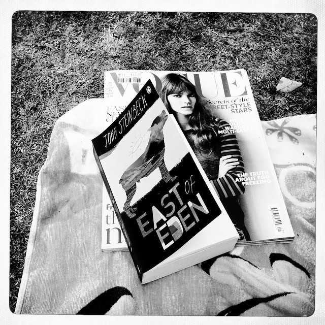Sunday reading. #eastofeden #johnsteinbeck #britishvogue #bliss #bookworm #penguin