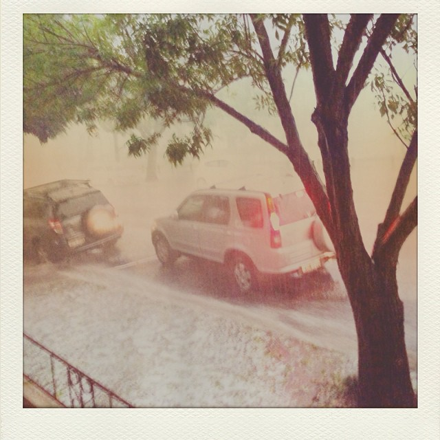 And then the world turned white and grey. View from my house. #sydneystorm #hail